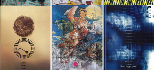 Image: Front covers of <i>Dislocation</i> issues: <i>Soundwork</i> (issue 8, 1992), <i>Fabricaton</i> (issue 9, 1993), <i>Photobooth</i> (issue 5, 1995). Courtesy of Lee Ka Sing.