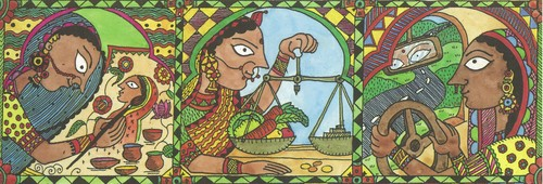 Image: From the cover of <i>The History of Doing: An Illustrated Account of Movements for Women's Rights and Feminism in India, 1800–1900</i> (New Delhi: Zubaan, 1993).