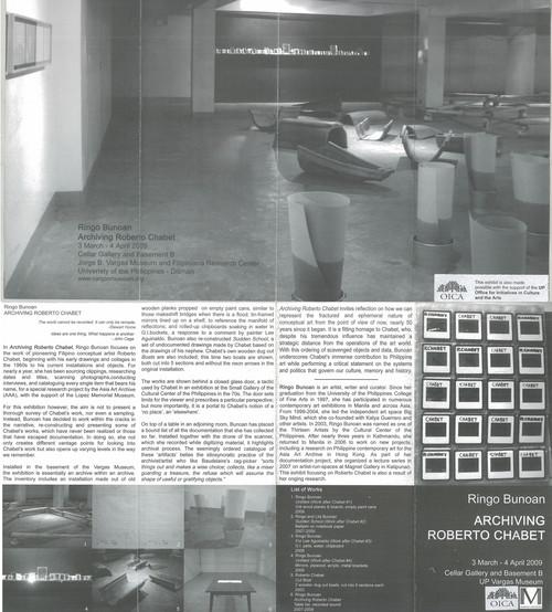 Archiving Roberto Chabet — Exhibition Brochure