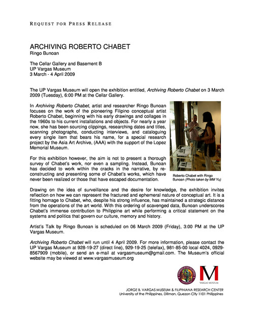 Archiving Roberto Chabet — Press Release