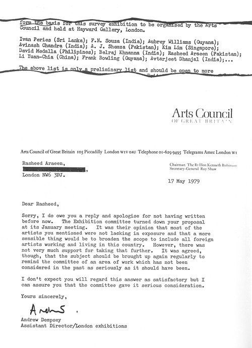 Letter from Andrew Dempsey to Rasheed Araeen, 17 May 1979