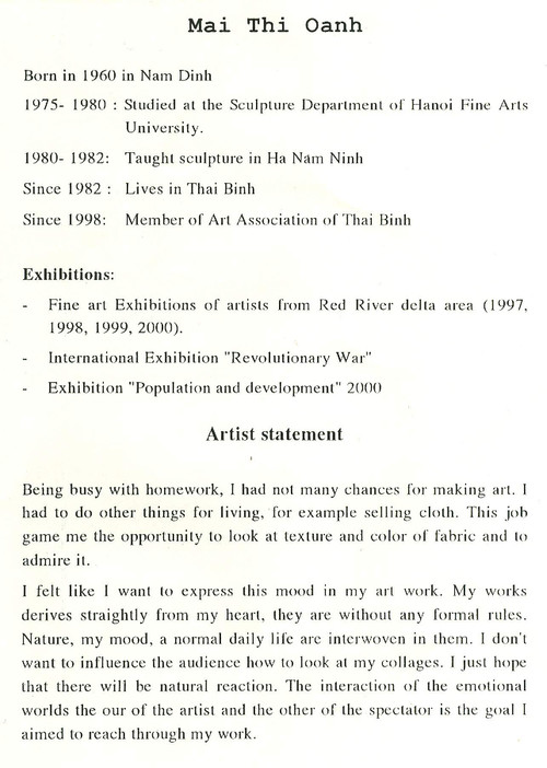 Curriculum Vitae and Artist Statement of Mai Thi Oanh