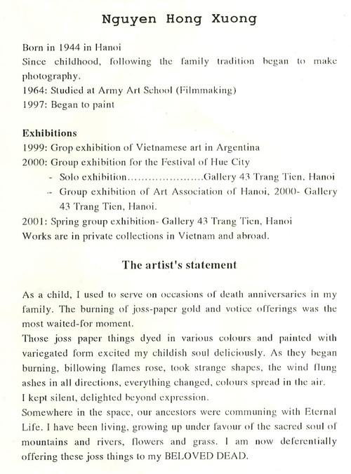 Curriculum Vitae and Artist Statement of Nguyen Hong Xuong