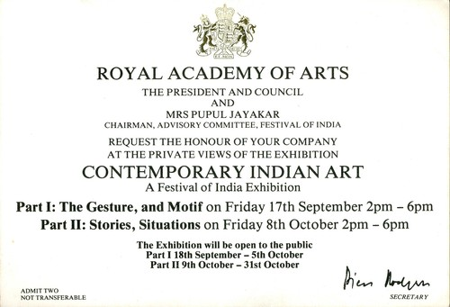 Invitation for Contemporary Indian Art: An Exhibition of the Festival of India