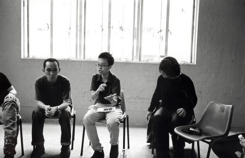 Ng Tszkwan, Yau Ching, and Ellen Pau at the workshop titled 'Video Ensemble'