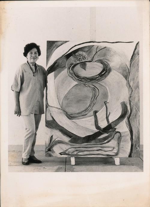 Josie Lim Cruz with Her Work