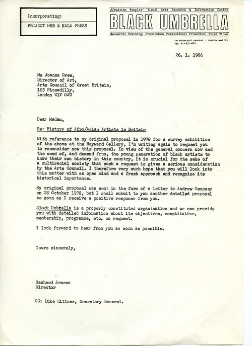Letter from Rasheed Araeen to Joanna Drew, 26 January 1986