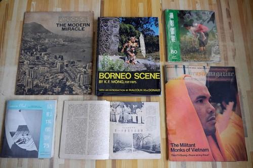 Image: Hong Kong photo periodicals popular in Southeast Asia (1950s–60s), <i>Asia Magazine</i>, and <i>Borneo Scene</i> photobook (by Sarawak photographer K. F. Wong; published in HK). Courtesy of Zhuang Wubin.