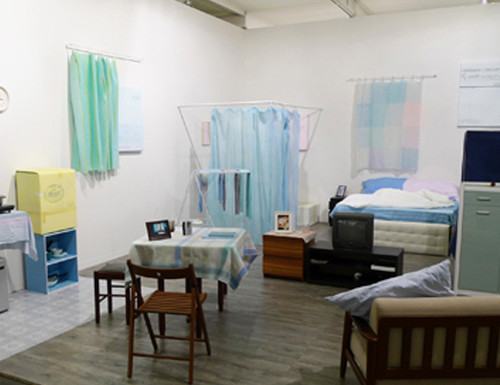 'How to set up and apartment for Johnny.', 2011, acrylic on fabric, cardboard paintings, video, read