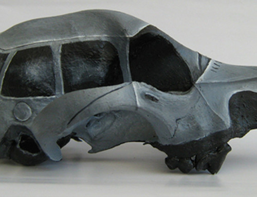 Sedan III from Safe House: Flora & Fauna III, 2008, oil on dog skull