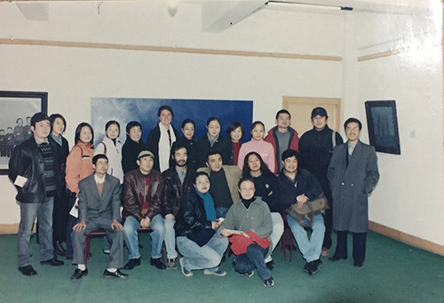 Image: Photo taken onsite at the <i>Six Men Painting Exhibition</i>, 2001. Courtesy of Xie Yunyuan.