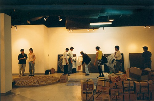 Image: Artists installing their works for the exhibition, <i>Ground Zero</i>, curated by Roberto Chabet at The Art Center, SM Megamall, Mandaluyong, Metro Manila, Philippines, 1997. Courtesy of Roberto Chabet.
