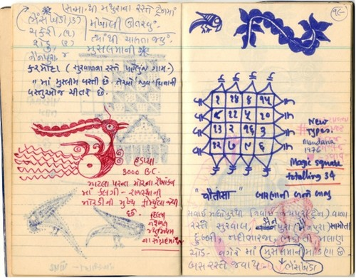 Image: Page from Jyoti Bhatt's diary, 1975–81. Jyoti Bhatt Archive, AAA Collections.