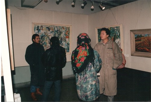 Image: Photo taken onsite at one of the <i>Twelve Men Painting Exhibitions</i> in the 1990s. Courtesy of Yan Li.