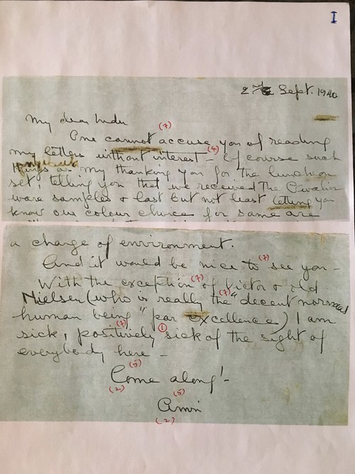 Image: Emily Hui's markup of Sher-Gil's Letter (1 of 3).