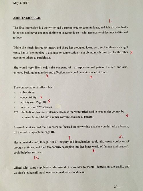 Image: Emily Hui's graphoanalysis of Sher-Gil's Letter (1 of 2).