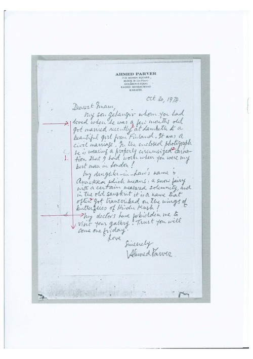 Image: Scanned letter from Ahmed Parvez with markup by Emily Hui.