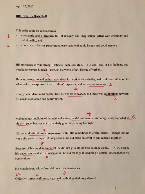 Image: Emily Hui's graphoanalysis of Bhupen Khakhar's letter (1 of 2).