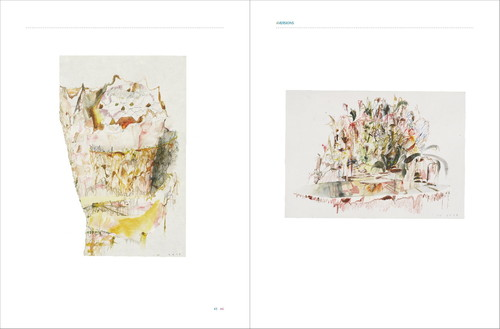 Image: View of <i>Aversions</i>, selected and edited by Tan Guo-Liang, with book opened to drawings by Ian Woo.