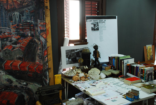 Image: <i>I Have Been Skying</i>, 2011. View of John Low's studio work space.