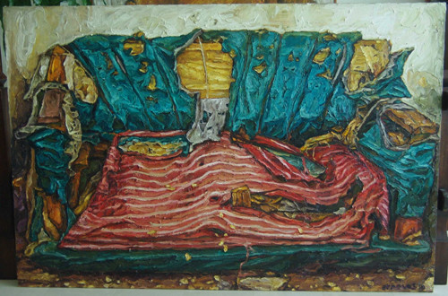 Image: View of Elaine Navas, <i>MM's Sofa</i>, oil on canvas.