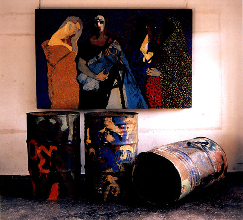 Image: Chandraguptha Thenuwara, <i>Women in Barrelistic Area</i>, 1998.