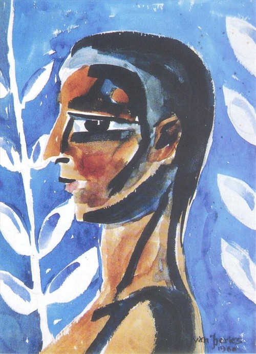 Image: <i>Profile</i>, 1960, watercolour on paper, 36.5 x 25.4 cm.