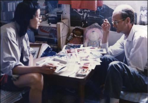 Hans Van Dijk visiting artist Ni Haifeng in Shanghai, 1988