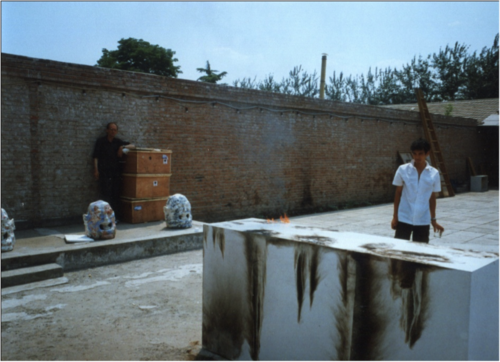 Hans Van Dijk and Zheng Guogu, in preparation of Zheng's solo exhibition in CAAW, 2000