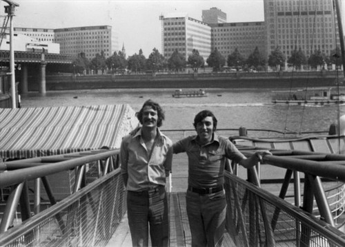Image: Nabil Anani and Sliman Mansour at the entrance of the Tattershall Castle yacht, London, 1976.