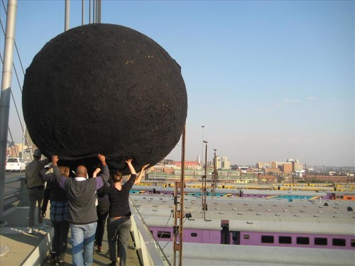 Yvonne Droge Wendel, Black Ball, performance Johannesburg, July 2012.
