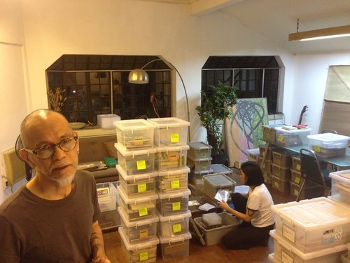Image: Norberto Roldan and Lesley-Anne Cao organising Green Papaya Art Projects' material.