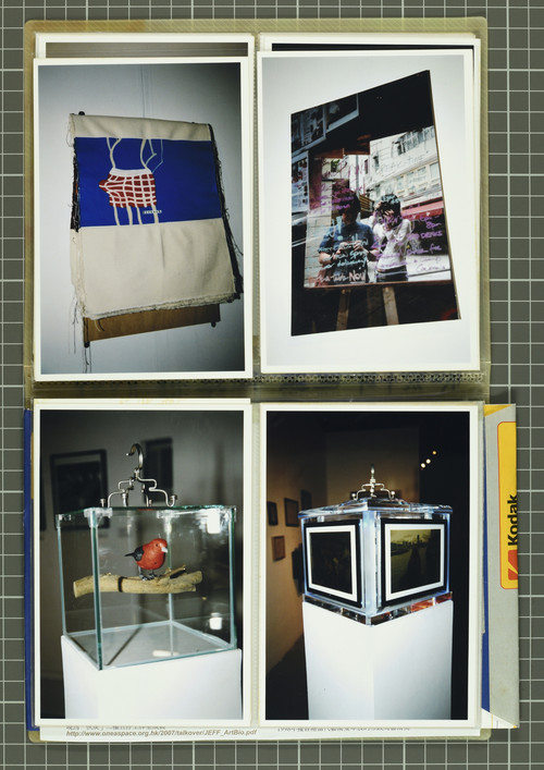 Image: Work by Tse Yim On (top left), Yu May Ming (top right), and Kum Chi Keung (bottom left and right). Documentation of <i>Talkover/Handover</i> by Ha Bik Chuen, 2007.