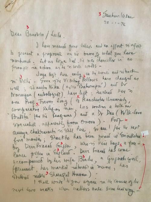 Image: Emily Hui's markup of K.G. Subramanyan's Letter (1 of 2).