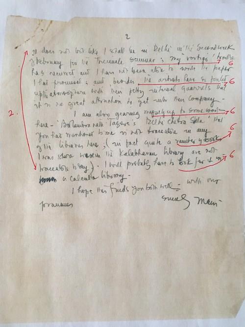 Image: Emily Hui's markup of K.G. Subramanyan's Letter (2 of 2).