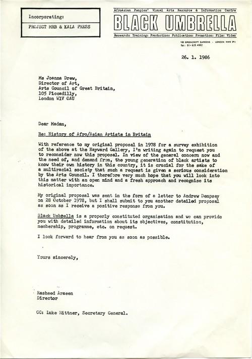 Image: Letter from Rasheed Araeen to Joanna Drew, 26 January 1986.