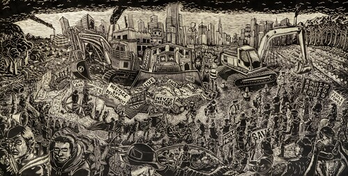 Image: Pangrok Sulap, <i>Live and Survive</i>, 2019, relief print of woodblock, fabric, 140 x 280cm. Courtesy of the artist, Koel Chu, and Hong Kong Open Printshop.