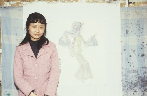 Image: Photograph of Shao Fei (member of the Stars Group) and her work, circa 1982. From AAA's Joan Lebold Cohen Archive.