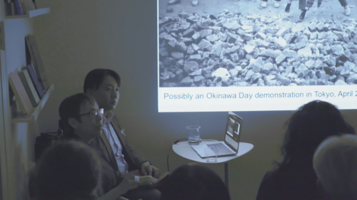 Image: Reiko Tomii speaking at AAA in A's <i>Following His Father's Footsteps: Taro Hanaga with Reiko Tomii and Tom Looser</i>.