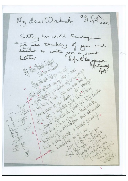 Image: Letter from Sadequain with markup by Emily Hui.
