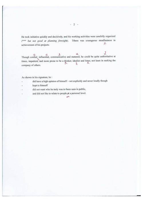 Image: Emily Hui's graphoanalysis of Sadequain's letter (2 of 2).