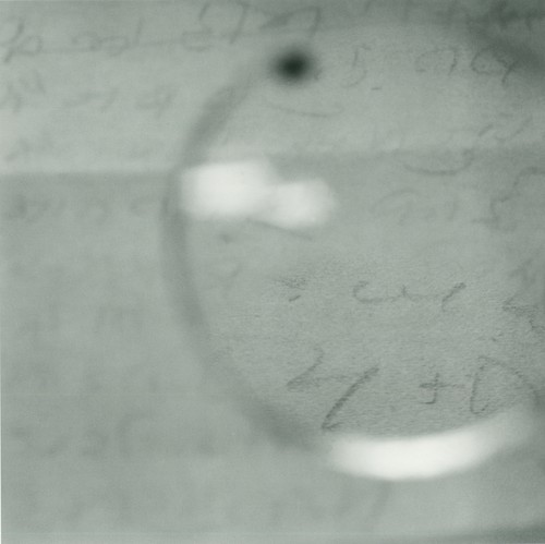 "Image: Tomoko Yoneda, <i>Gandhi's Glasses - Viewing a Note Written on His ""Day of Silence"" Shortly Before His Death</i>, 2003."