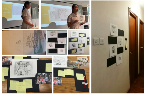 Image: Documentation of a student's artwork and the exhibition at home.