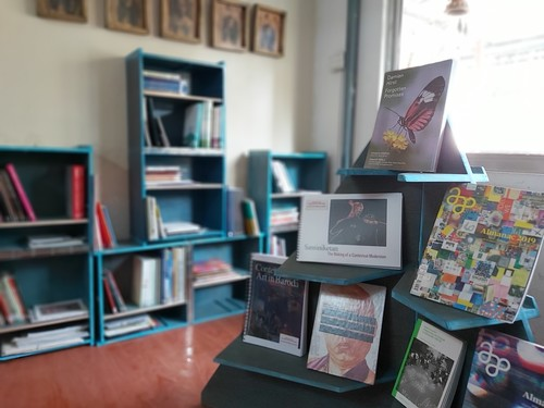 Image: Mobile Library: Nepal at Bikalpa Arts Center, Kathmandu, in bookshelves designed by Kathmandu-based designer, Prabal Gurung.