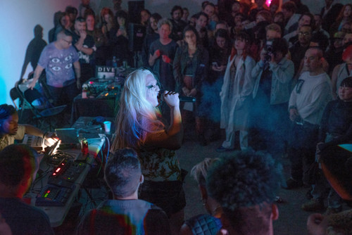 Image: Performance still of Xina Xurner, Queens Of The Night album release at Human Resources (LA). Photo by KT Stenberg . Courtesy of the artists.