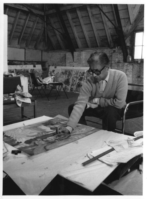 Image: K.G. Subramanyan working in Oxford for his exhibition at the Museum of Modern Art, 1988.