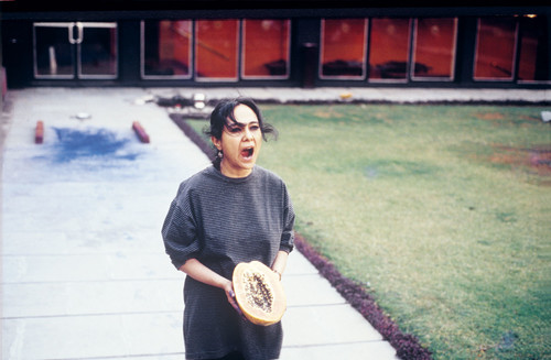 Image: Rummana Hussain, <i>Living on the Margins</i>, performance at the National Centre for Performing Arts, Mumbai, 1995.