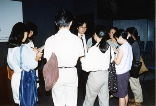 Image: Press conference of <i>In Search of Art</i> (set of five photographs). Oscar Ho Hing Kay Archive, AAA Collections. Courtesy of Oscar Ho Hing Kay.