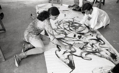 Image: Photograph of students at the Department of Painting, Faculty of Fine Arts, The Maharaja Sayajirao University of Baroda.