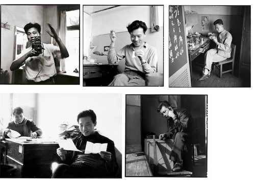 Image: Collage of Li Zhensheng's self-portraits made at his office at the Heilongjiang Daily. Courtesy of Li Shi.